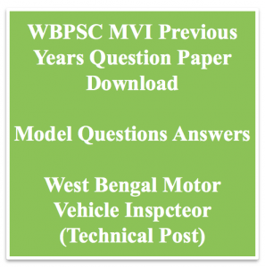 wbpsc mvi previous years question paper download solved old set model mcq questions answers west bengal public service commission motor vehicle inspector mechanical automobile engineering