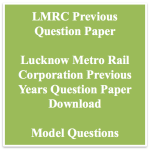 LMRC Previous Question Paper Download | SCTO JE Maintainer Solved PDF