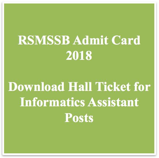rsmssb admit card download 2018 hall ticket rajasthan www.rsmssb.rajasthan. gov.