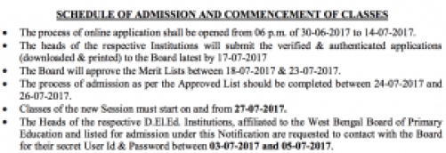 date / schedule of admission