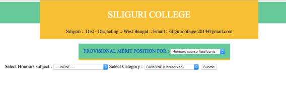 siliguri colleg provisional merit list honours