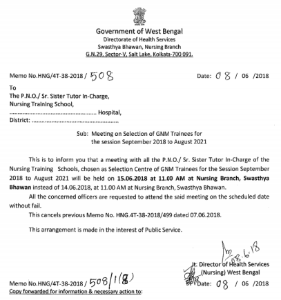 wb gnm nursing admission 2018 selection committee meeting
