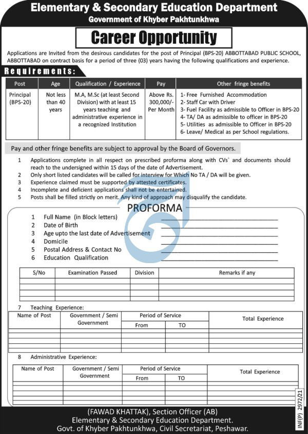 Abbottabad Public School Jobs 2021 Latest Recruitment