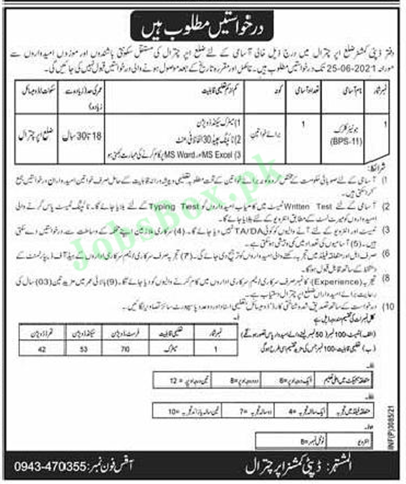 Deputy Commissioner DC Office Upper Chitral Jobs 2021