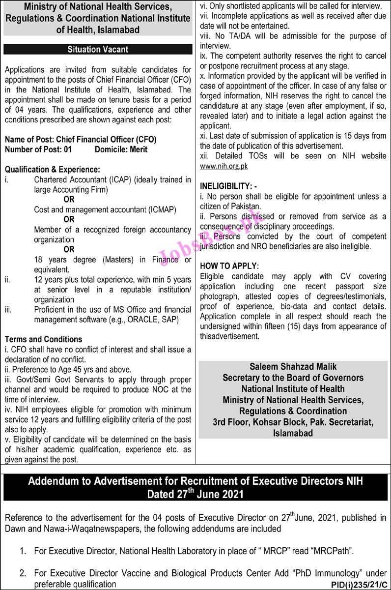 National Institute of Health NIH Jobs 2021 Latest - www.nih.org.pk