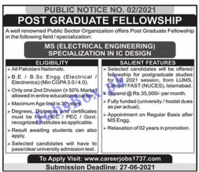 Post Graduate Fellowship 2021 - Career Jobs 1737 - Apply Online