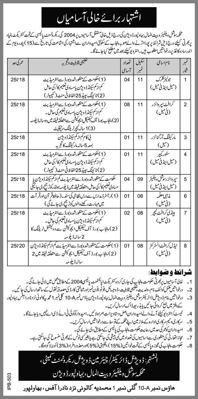 Social Welfare and Bait ul Maal Department Bahawalpur Jobs 2021