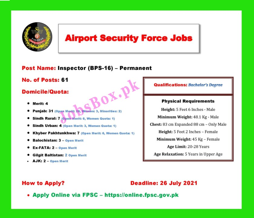 Airport Security Force ASF Jobs 2021 - Apply Online
