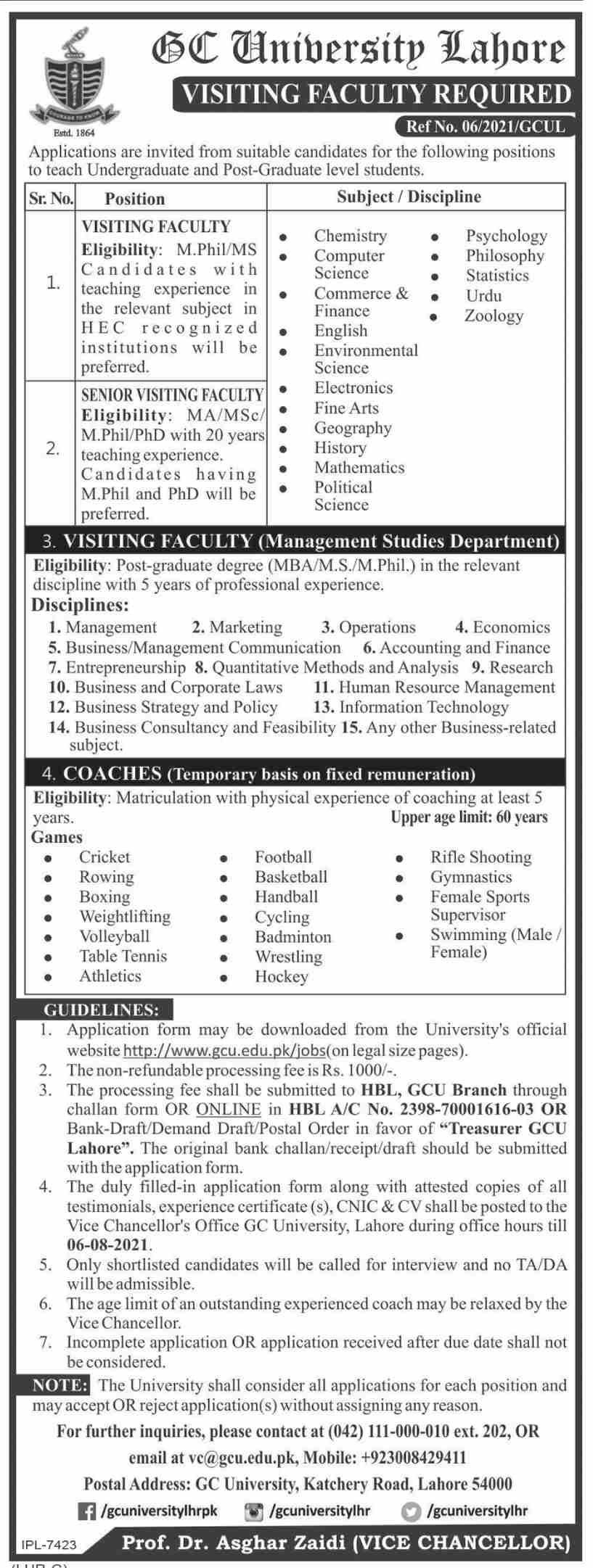 GC University Lahore Jobs 2021 - Government College University Jobs