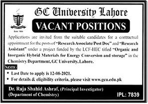 GCU Lahore Jobs Latest