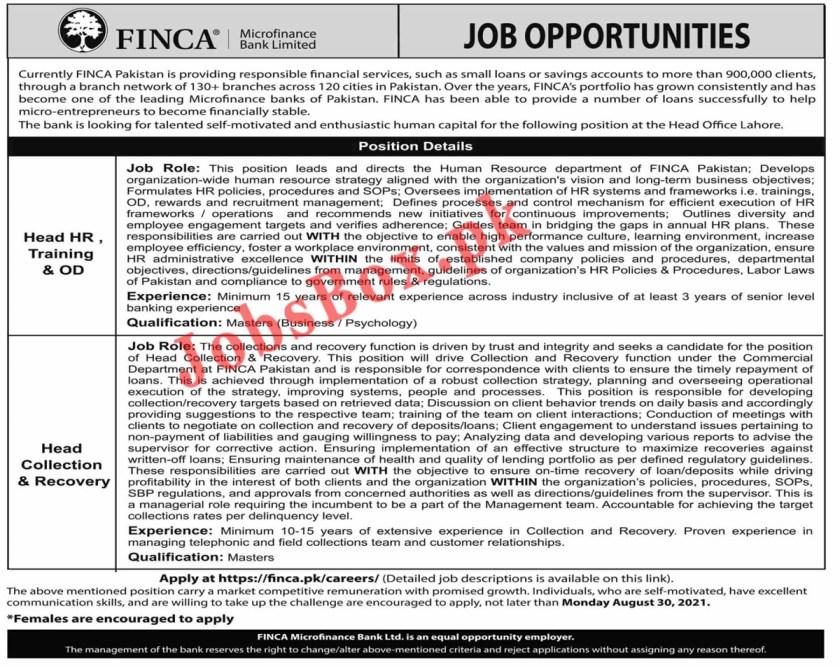 Latest FINCA Microfinance Bank Jobs 2021 - www.finca.pk
