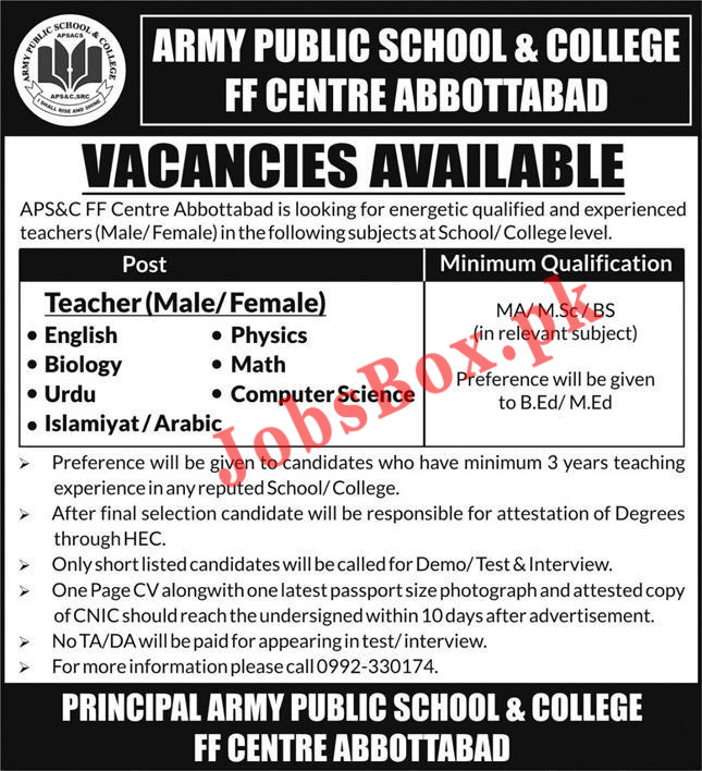 Army Public School APS & College Abbottabad Jobs 2021