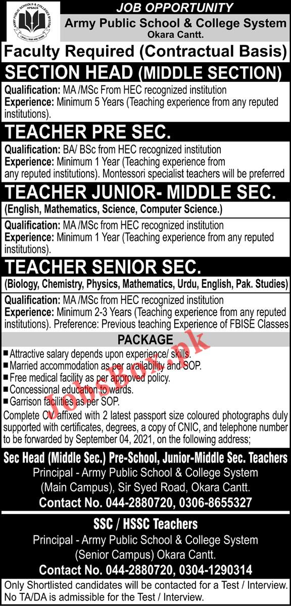 Army Public School and College Okara Jobs 2021 - Teaching Jobs