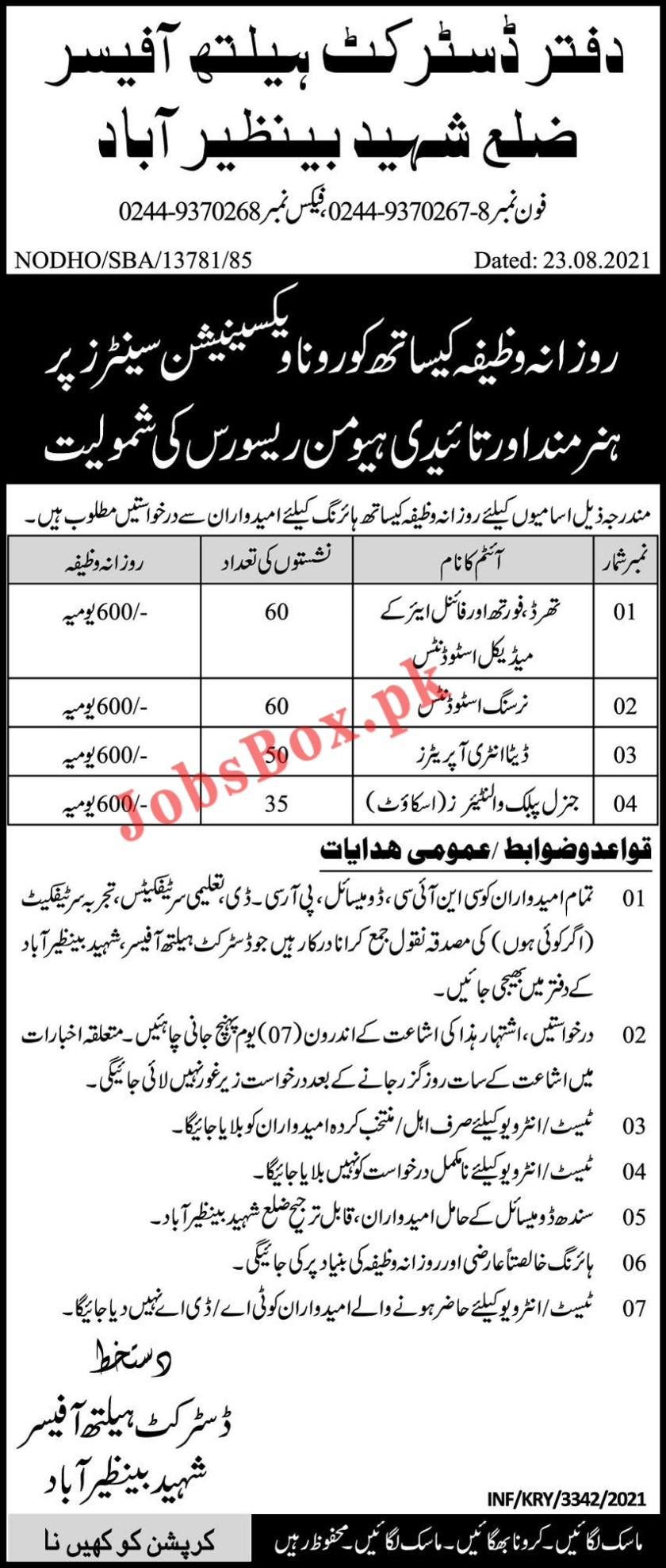 District Health Officer Shaheed Benazirabad Jobs 2021