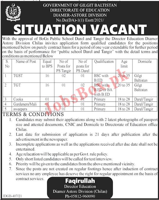 Jobs in Directorate of Education Gilgit Baltistan