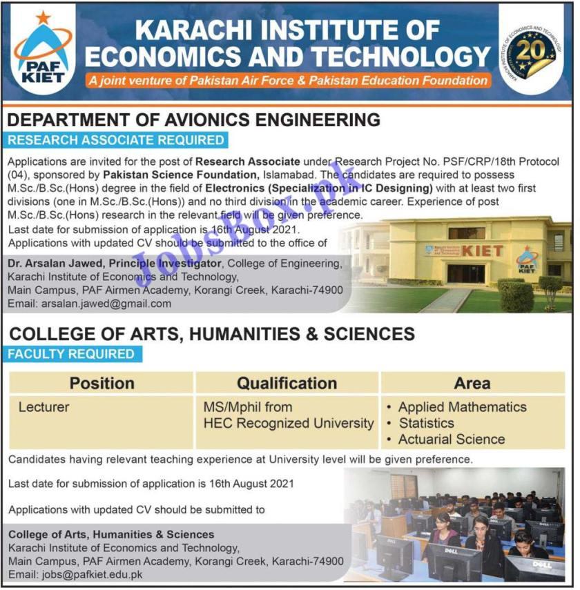 Karachi Institute of Economics and Technology KIET Jobs 2021