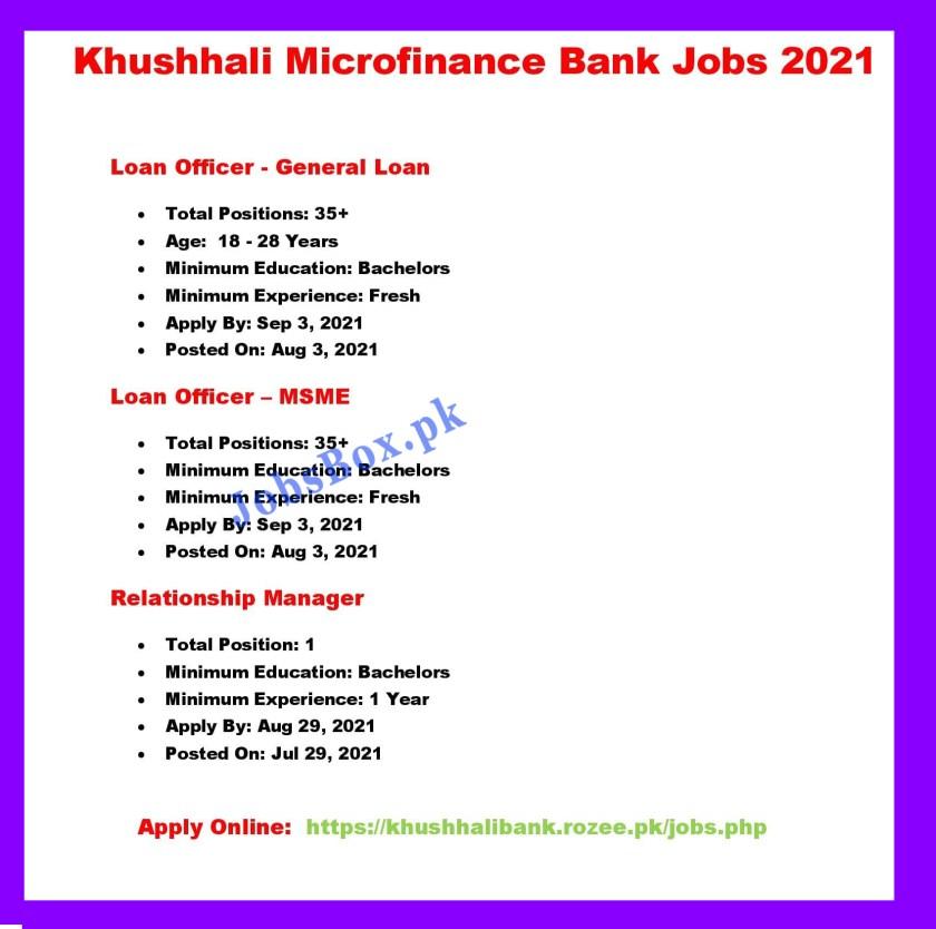 Khushhali Microfinance Bank Jobs 2021 Apply Online