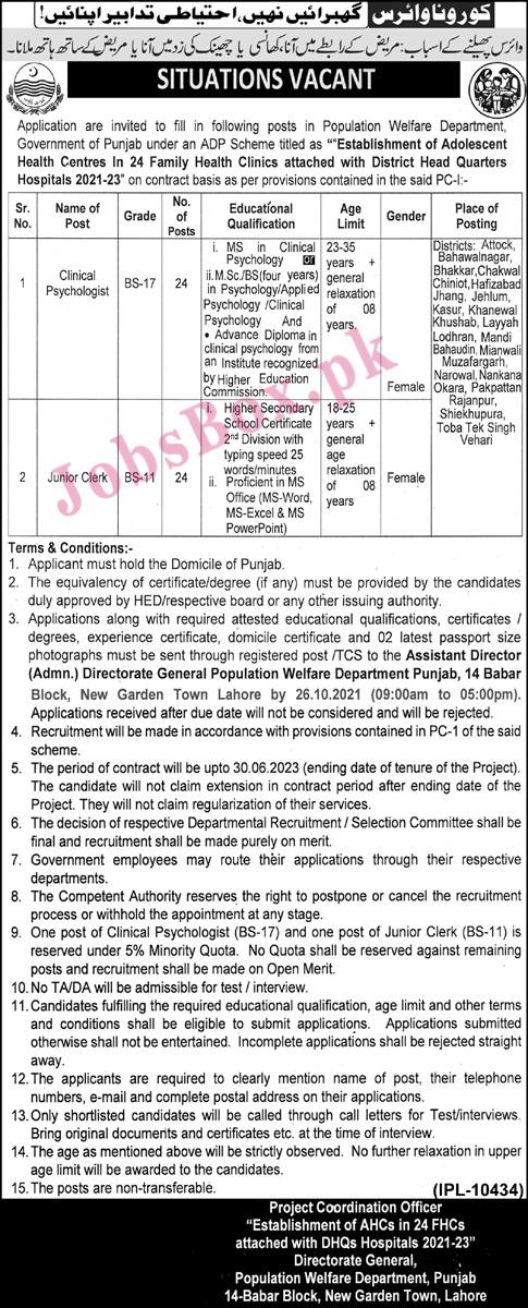 Latest Population Welfare Department Punjab Jobs 2021