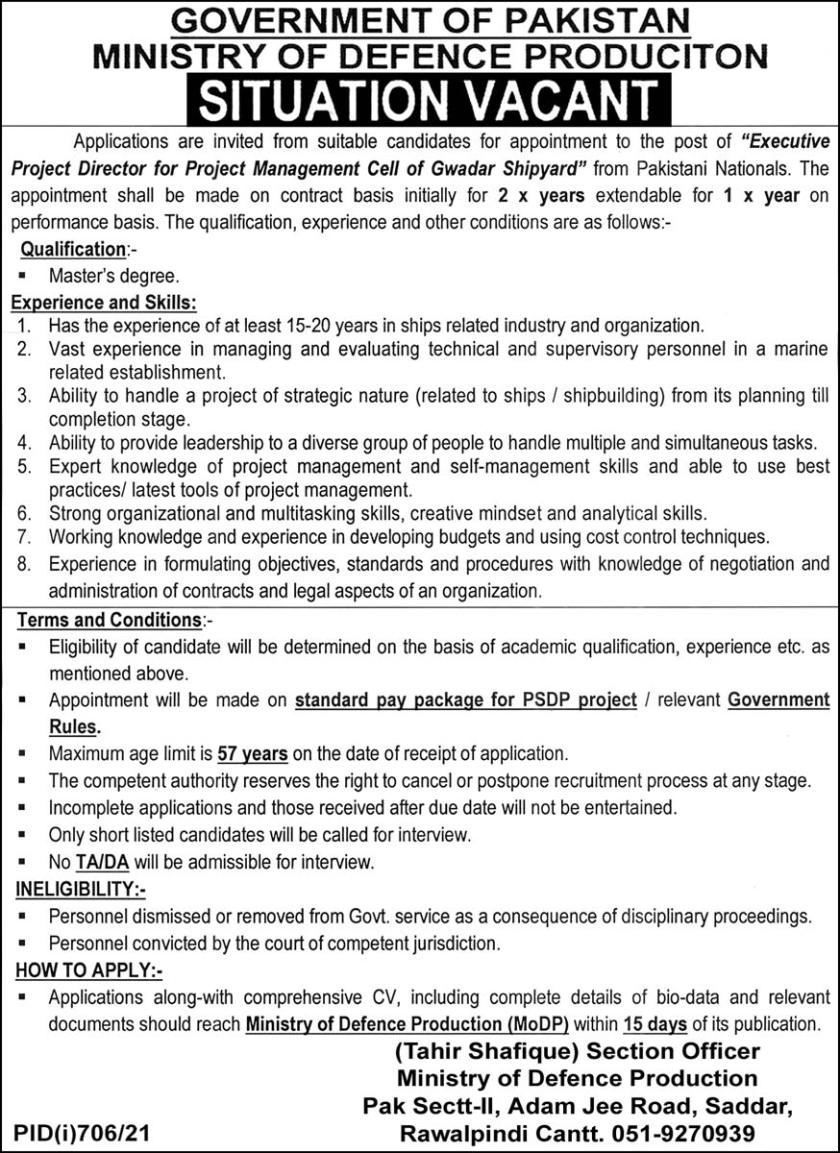 Ministry of Defence Production Jobs 2021