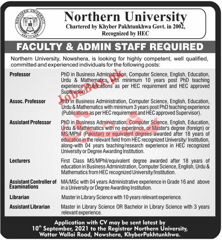 Northern University Nowshera Jobs 2021 - Faculty & Admin Staff Jobs
