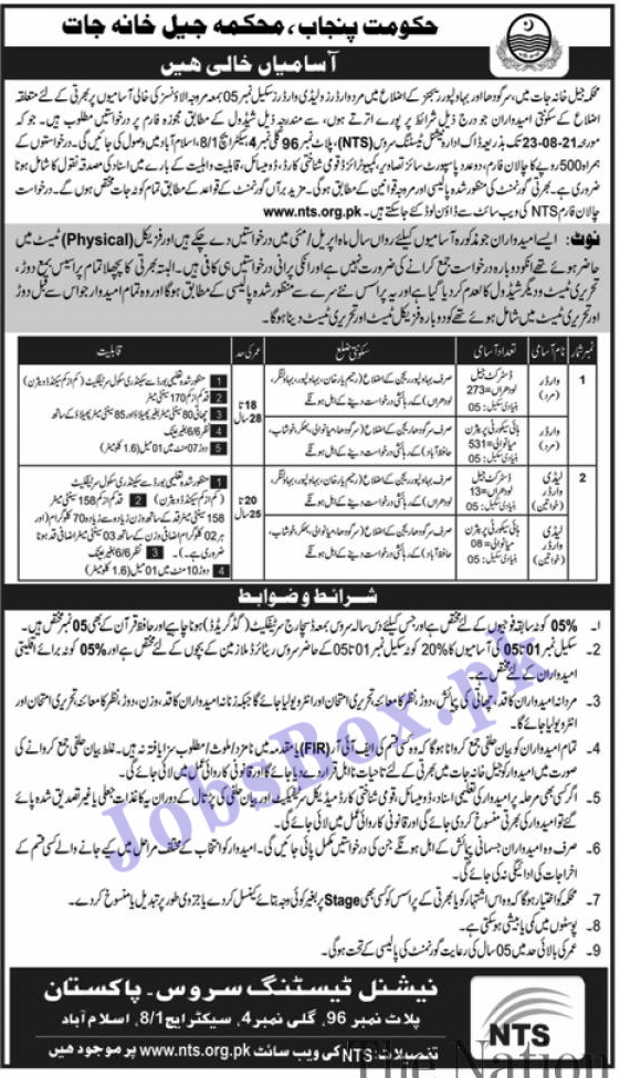 Punjab Police Jail Department Jobs 2021 - Jail Warder Jobs via Nts.org.pk