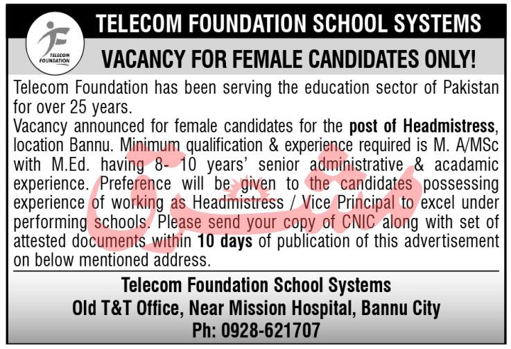 Telecom Foundation Headmistress Jobs