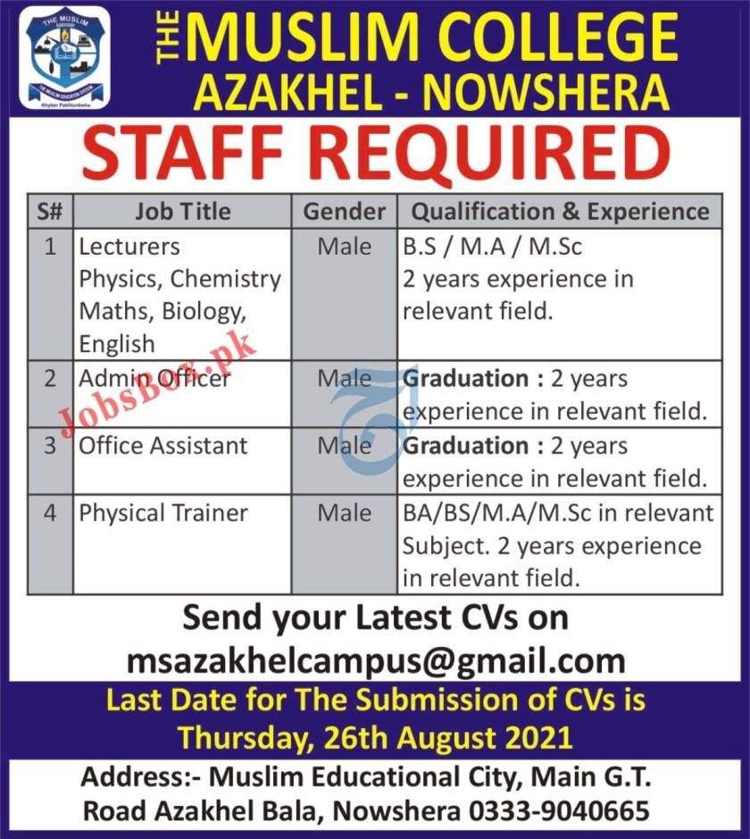 The Muslim College Azakhel Nowshera Jobs 2021