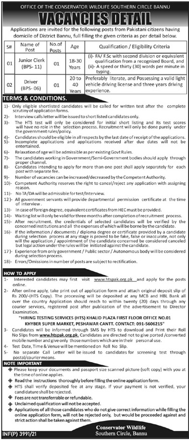 Wildlife Southern Circle Bannu Jobs 2021 - Apply via www.htspak.org.pk