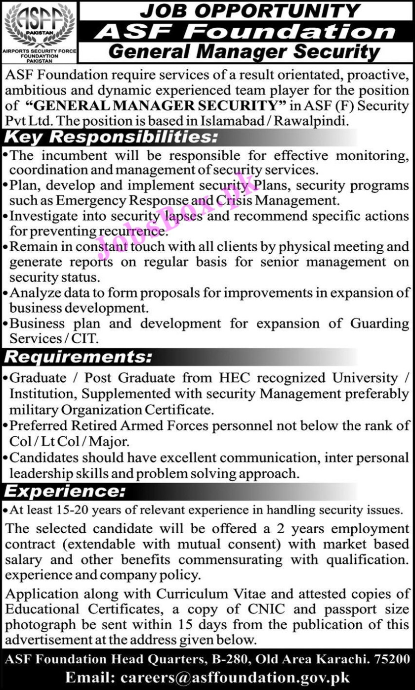 Airports Security Force ASF Foundation Jobs 2021