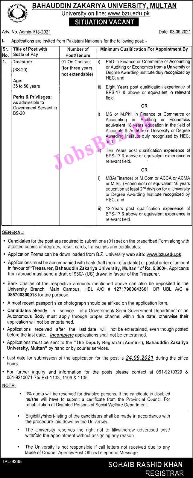 Bahauddin Zakariya University BZU Multan Jobs 2021 - Online Apply