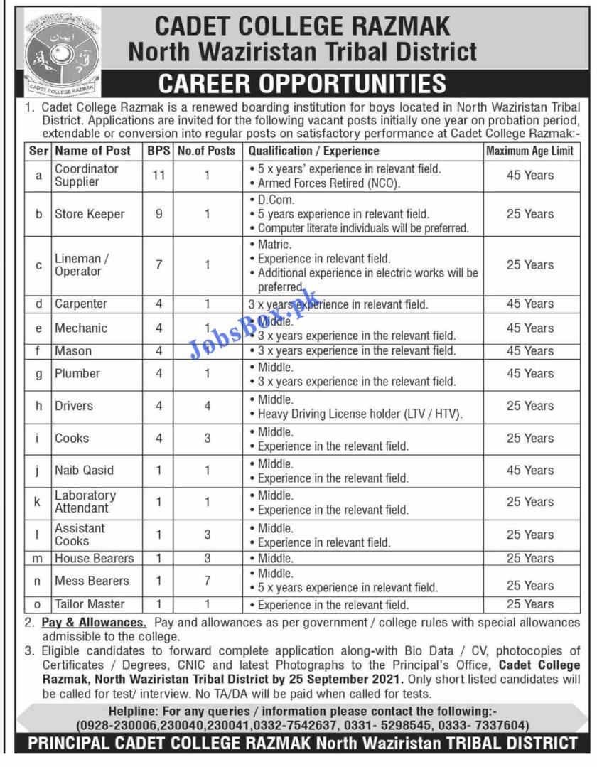 Cadet College Razmak North Waziristan Jobs 2021