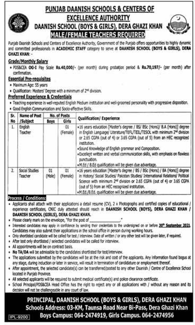 Daanish School Boys & Girls Dera Ghazi Khan Jobs 2021