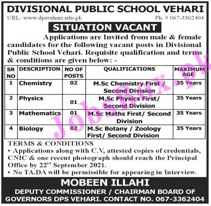 Divisional Public School Vehari Jobs 2021 - Teaching Jobs