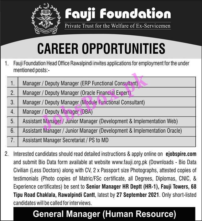 Fauji Foundation Rawalpindi Jobs 2021 - Apply Online at Ejobspire.com