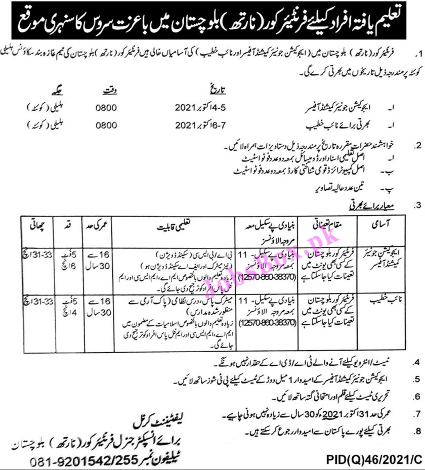 Frontier Corps FC North Balochistan Jobs 2021 - Join FC Jobs