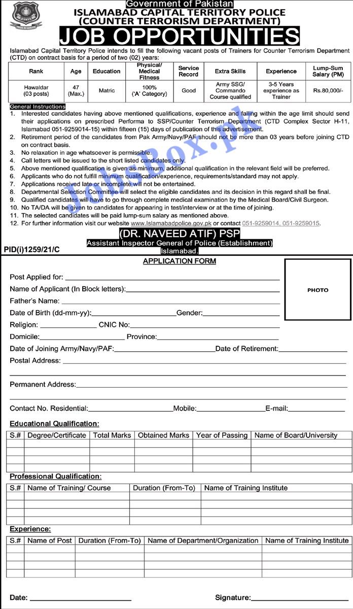 Islamabad Police Jobs 2021 - Counter Terrorism Department CTD Jobs