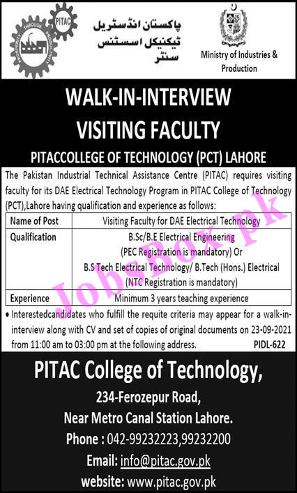 PITAC College of Technology PCT Lahore Jobs 2021