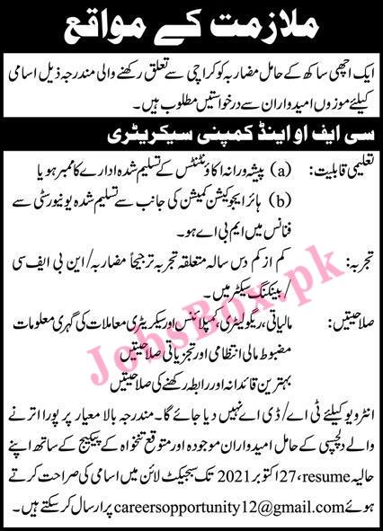 CFO and Company Secretary Jobs in Karachi