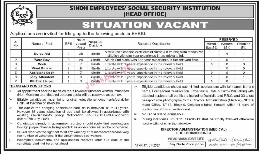 Employees Social Security Institution ESSI Sindh Jobs 2021