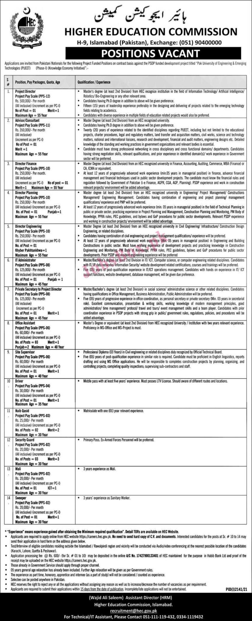 HEC 7th October 2021 Jobs Latest