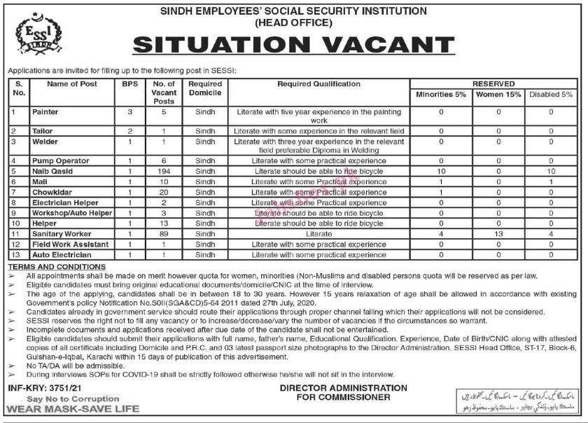 Latest Employees Social Security Institution ESSI Sindh Jobs 2021