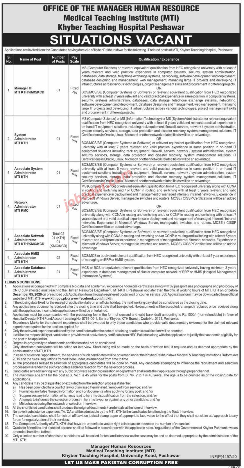 KTH Medical Teaching Institution Peshawar Jobs 2020