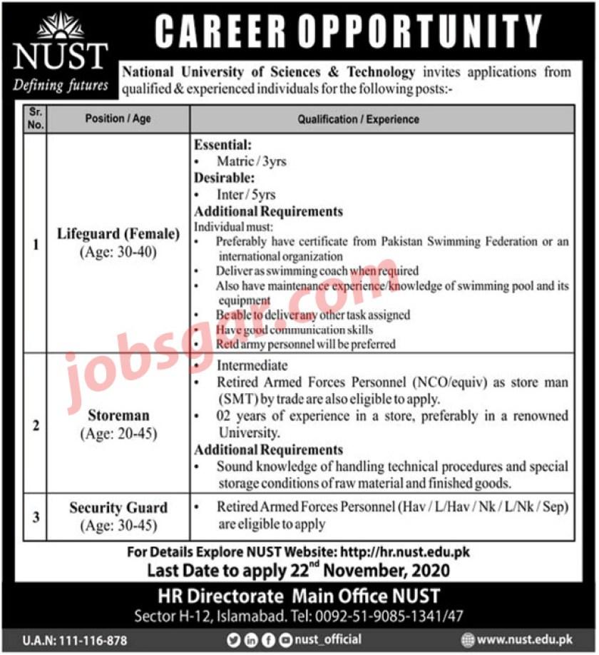 National University of Sciences & Technology Islamabad NUST Jobs 2020