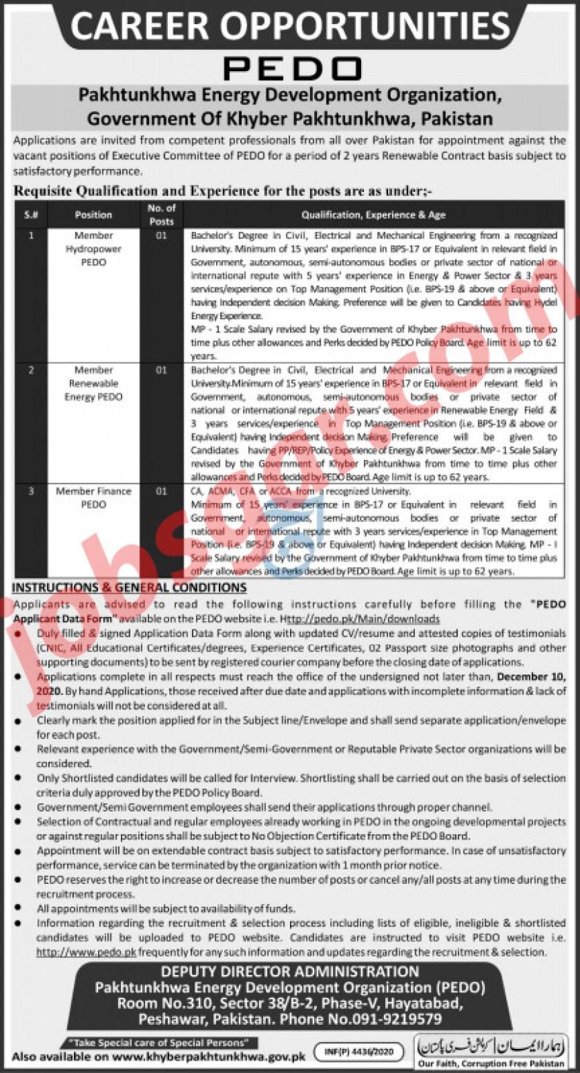 Pakhtunkhwa Energy Development Organization PEDO Jobs Nov 2020