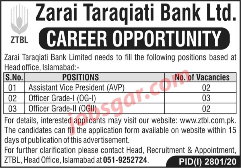 Zarai Tarakiati Bank Limited ZTBL Jobs 2020