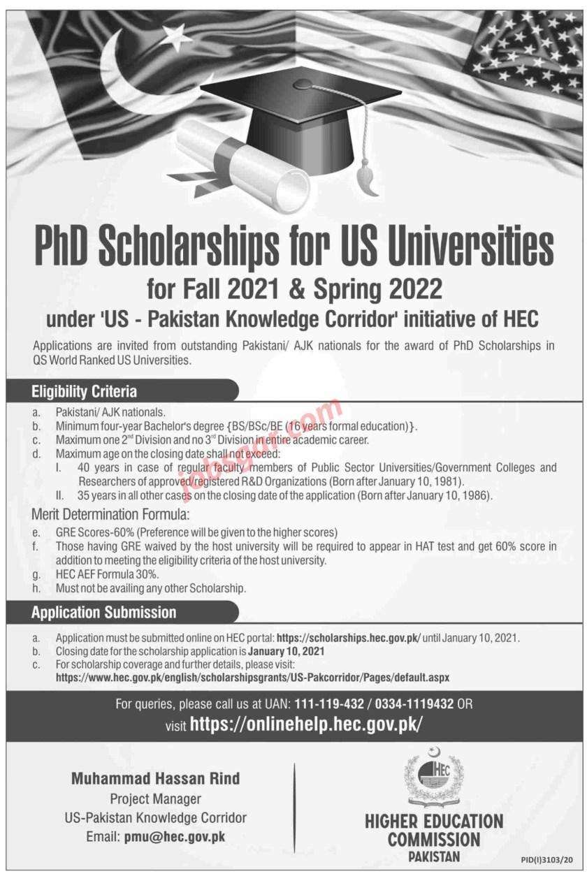 PhD Scholarship 2021 US Pakistan Knowledge Corridor
