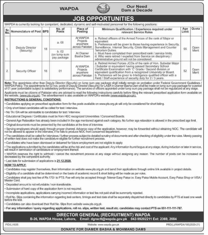 Water & Power Development Authority WAPDA Jobs 2020 via PTS