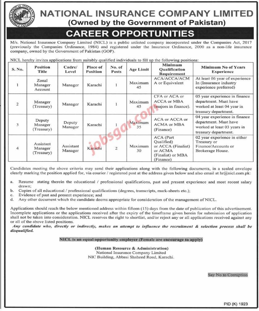 National Insurance Company Limited NICL Karachi Jobs 2021