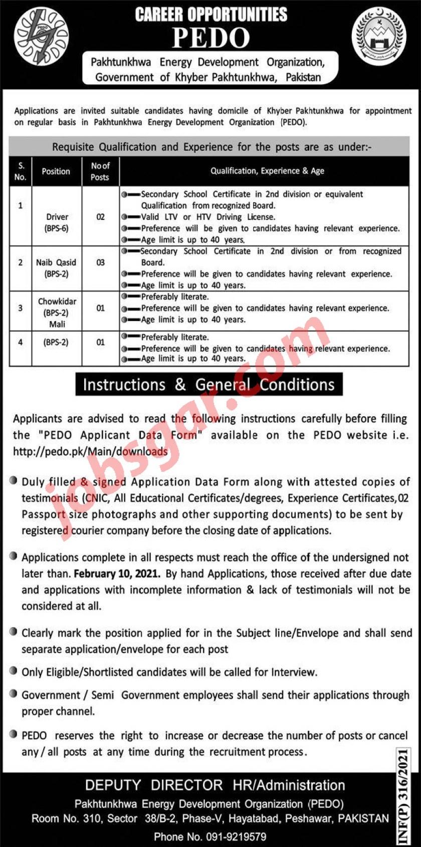 PEDO Jobs Jan 2021 Pakhtunkhwa Energy Development Organization