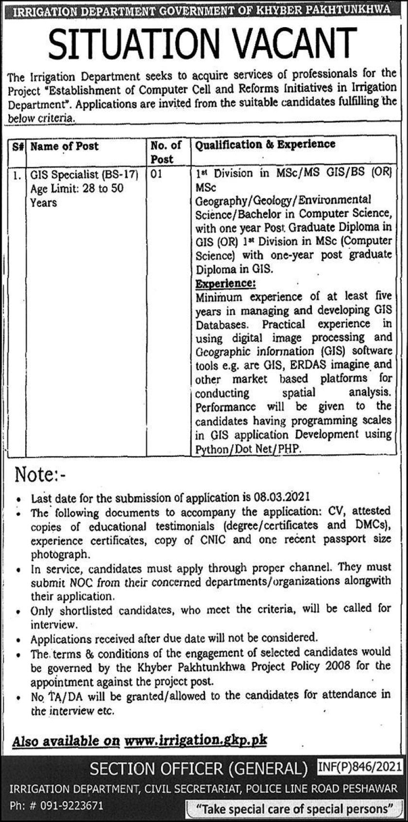 Irrigation Department Khyber Pakhtunkhwa Jobs 2021